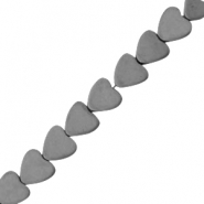 Hematite beads heart 8mm matt Anthracite grey