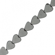 Hematite beads heart 6mm Anthracite grey