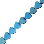 Hematite beads heart 6mm Dynamic blue