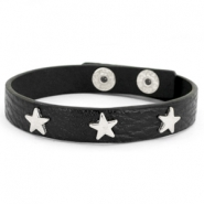 Trendy bracelets with studs silver star Black