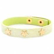 Trendy bracelets reptile with studs gold star Pastel yellow green