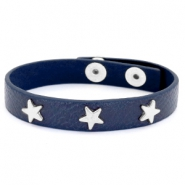 Trendy bracelets with studs silver star Dark denim blue