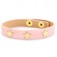 Trendy bracelets reptile with studs gold star Dusty pink