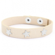 Trendy bracelets with studs silver star Taupe beige