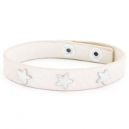 Trendy bracelets reptile with studs silver star Creamy white