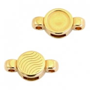 Round DQ metal settings/sliders 2 loops for SS34 flatback stone Gold (nickel free)