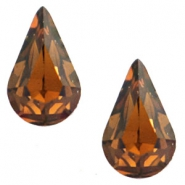 Swarovski Elements different shapes 4328 - 10x6mm drop shaped gold foiled Smoked topaz