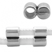 DQ metal end cap /clasp for 4mm stitched leather Antique  Silver (nickel free)