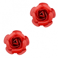 Metal rose beads Red
