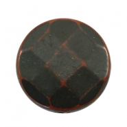 Flat DQ acrylic beads 30mm round faceted Dark-brown black