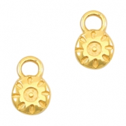 Round DQ metal charms sun 6mm Gold (nickel free)