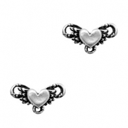 TQ metal charms connector heart wings Antique silver