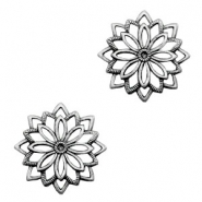 TQ metal charms flower  Antique silver