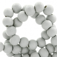 Round wooden beads 6mm Light grey