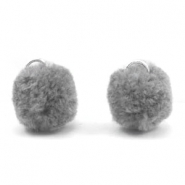 Pompom charm with eye silver 15mm Dark grey