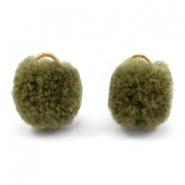 Pompom charm with eye gold 15mm Olive green