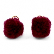 Pompom charm with eye gold 15mm Port red