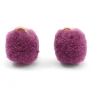 Pompom charm with eye gold 15mm Heather purple