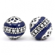 Bohemian beads 16mm Cobalt blue-silver