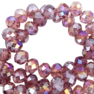 Top faceted beads 4x3mm disc Soft aubergine-diamond high shine coating