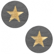 Wooden cabochon Star 12mm Dark Grey