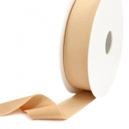Elastic Ibiza Ribbon 25mm Nude Beige Light Brown