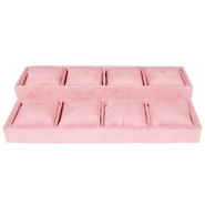 Jewellery display 8-compartments with pillow Vintage Pink