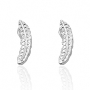 Trendy earrings studs feather Silver