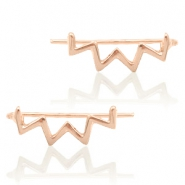 Trendy earrings earline zigzag Rose Gold