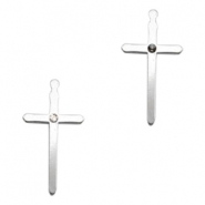 Charms TQ metal cross with setting for Swarovski PP32 Light Silver