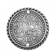 Charms TQ metal connector Oriental coin 32mm Antique Silver