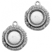 Charms TQ metal round with setting Antique Silver