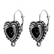 Findings TQ metal earring hook 12mm heart with loop Antique Silver