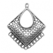 DQ metal charms rhombus with 14 loops Antique Silver (nickel free)
