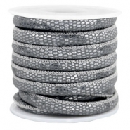 Stitched faux leather 6x4mm reptile Anthracite Grey