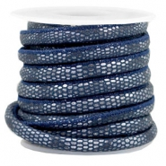 Stitched faux leather 6x4mm reptile Dark Blue