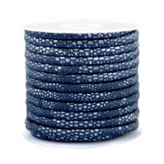 Stitched faux leather 4x3mm reptile Dark Blue