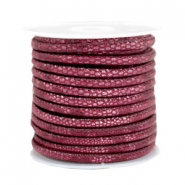 Stitched faux leather 4x3mm reptile Mulberry Red