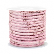 Stitched faux leather 4x3mm reptile Light Pink