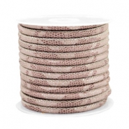 Stitched faux leather 4x3mm reptile Vintage Rose Taupe