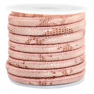 Stitched faux leather 6x4mm reptile Rose Peach