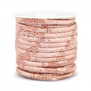 Stitched faux leather 4x3mm reptile Rose Peach