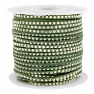 Faux suede with rhinestones 3mm Silver-Olive Green