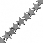 Hematite beads star 10mm Matt Anthracite Grey