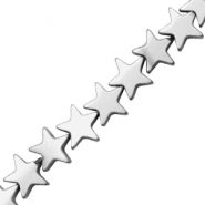 Hematite beads star 8mm Matt Light Grey