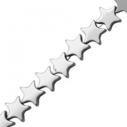 Hematite beads star 6mm Light Grey