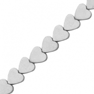 Hematite beads heart 6mm Matt Light Grey