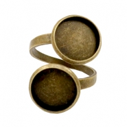Rings metal for 2 cabochons 12mm Bronze