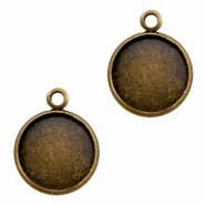 Settings charm metal for cabochon 12mm Bronze