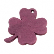 DQ leather charms clover large Light Aubergine Red